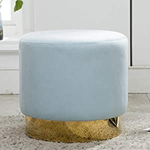 Artechworks Round Velvet Ottoman Upholstered with Gold Plating Metal Base Modern Footstool Rest Ottoman for Living Room,Bedroom, Light Blue