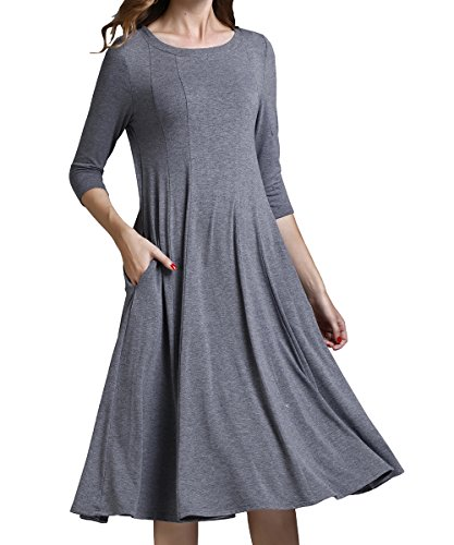 Yige Women's Classic A-line Pocket Midi Dress 3/4 Sleeve Knit Fit and Long Dresses Gray-XL