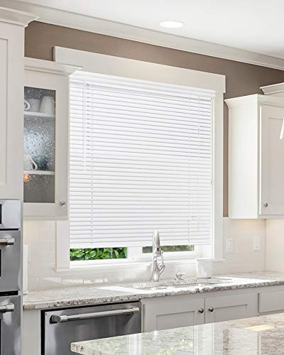 CHICOLOGY Custom Made Corded 1-Inch Aluminum Mini Blind, Blackout Horizontal Slats, Inside Mount, Room Darkening Perfect for Kitchen/Bedroom/Living Room/Office and More – 34″ W X 16″ H, White