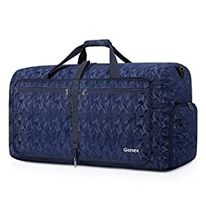 Gonex Foldable Travel Duffel 80L, Packable Luggage Duffle Bag Lightweight Water Repellent & Wear Resistant Black and Blue Camouflage