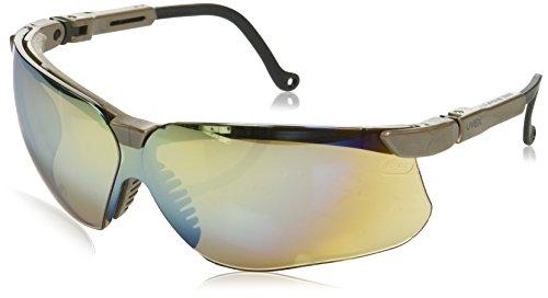 Genesis Ballistic Lens - Uvex S3223 Genesis Safety Eyewear, Earth Frame, Gold Mirror Ultra-Dura Hardcoat Lens