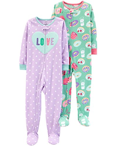 Carter's Baby Girls' 2-Pack Fleece Pajamas, Love/Donuts 24 Months