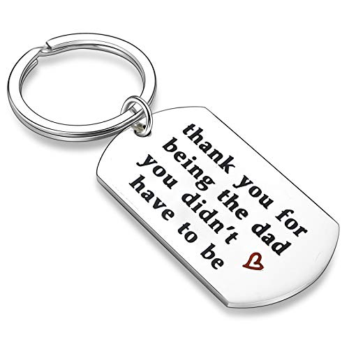 Stepdad Gifts from Stepdaughter Stepson Step Dad Keychain Key Tags Father