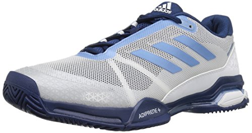 adidas Men's Barricade Club Tennis Shoes, White/Tech Blue/Mystery Blue, (14 M US)