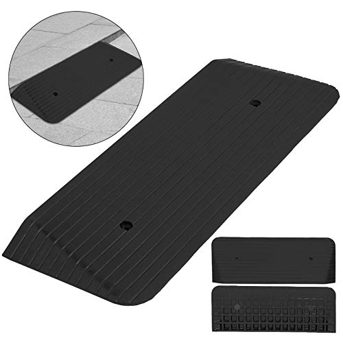 """Mophorn 2"""" Rise Curb Ramp Solid Rubber Curb Ramp Heavy Duty Car Ramps for Loading Dock Bike Mower Cart and Wheelchair"""