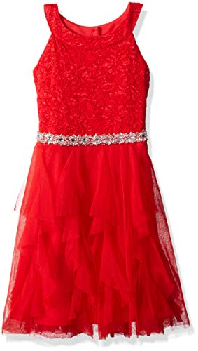 My Michelle Girls' Big Special Occasion Lace and Tulle Dress, red, 12