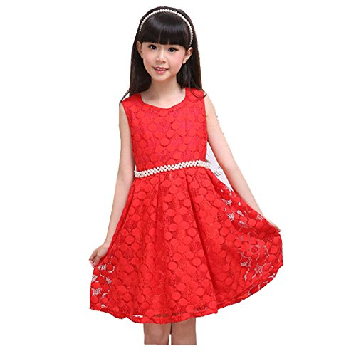 FTSUCQ Girls Sleeveless Lace Pearl Princess Dress,Red 120 (Cute 11 Year Old Guys)