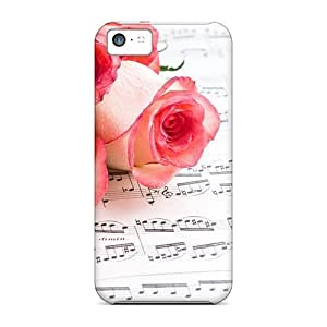 Anti-scratch And Shatterproof Music Roses Phone Case For Iphone 5c/ High Quality Tpu Case