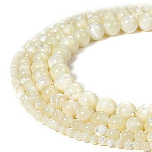 8mm Natural White Mother of Pearl Shell Beads Round Loose Gemstone Beads for Jewelry Making Strand 15 Inch (47-50pcs)