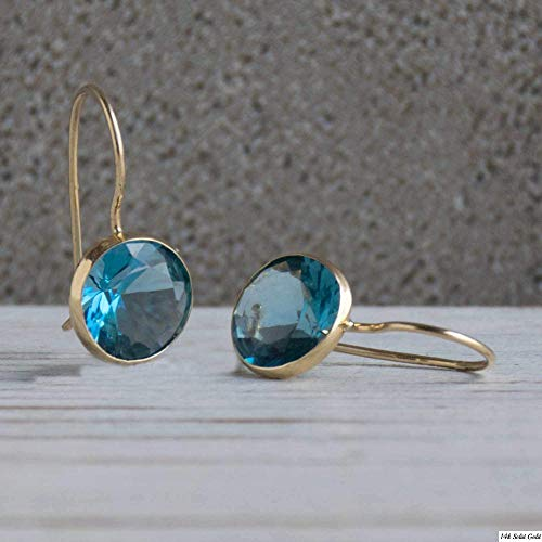 (14K Gold Blue Earrings - 14K Solid Yellow Gold Oval Shape Dangle Drop Earrings, 8x10mm Light Blue Elliptic Oval Cubic Zirconia CZ Gemstone Jewelry - Simple Handmade Gift for Classy Women)