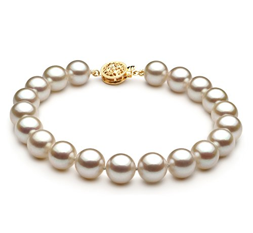 PearlsOnly - Blanc 8.5-9mm AAA-qualité Akoya du Japon 585/1000 Or Jaune-Bracelet de perles
