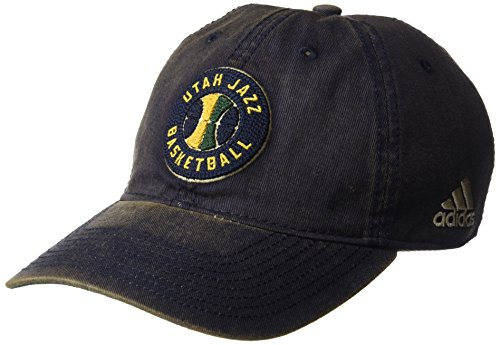 fan products of NBA Utah Jazz Men's Raised Chain Stitch Adjustable Slouch Hat, Navy, One Size