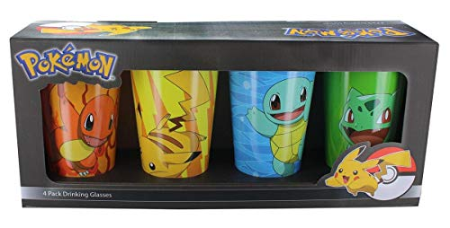 4 PACK Pokemon OFFICIAL Original 4 Starters - Charmander, Bulbasaur, Squirtle, Pikachu Pint Glass Set, 16oz Multicolored