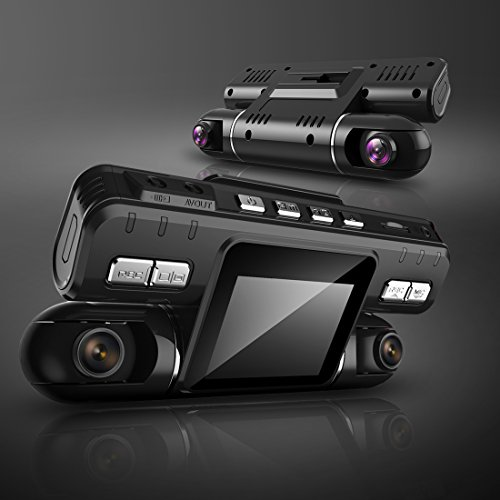 Pruveeo MX2 Dash Cam Front and Rear Dual Camera for Cars, 240 Degree Wide Angle Driving Recorder DVR by PRUVEEO (Image #1)