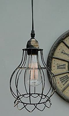 iron Balloon Cage Wire steel antique styl factory industrial chic pendant light