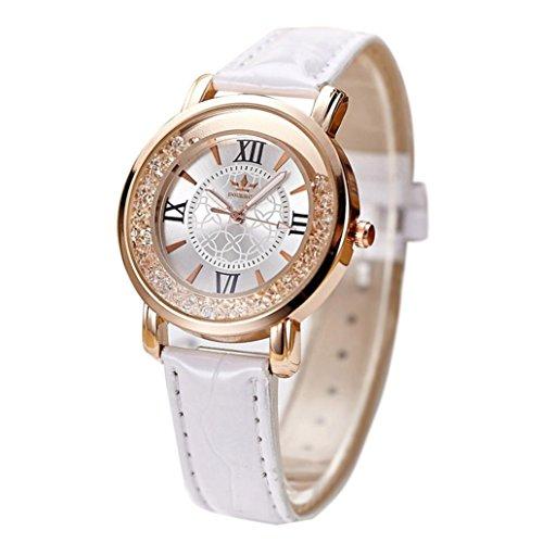 Balakie Ladies Fashion Quartz Watch, Rhinestone Leather Casual Dress Women Watch (White) ()