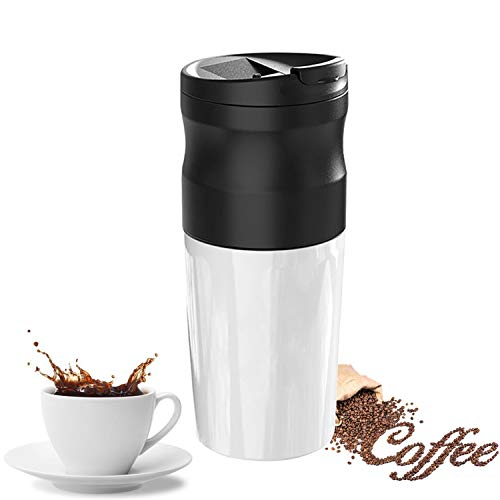 Portable Automatic Coffee Grinder,Multifunction Coffee Filter Cup Thermoses with Built-in lithium battery,Adjustable Fineness (White)