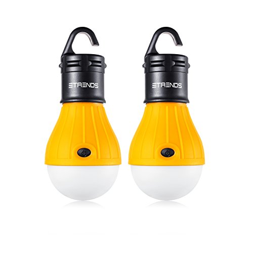 2 Pack E-TRENDS Portable LED Lantern Tent Light Bulb for Camping Hiking Fishing Emergency Light, Battery Powered Camping Equipment Gear Gadgets Lamp for Outdoor & Indoor, Yellow