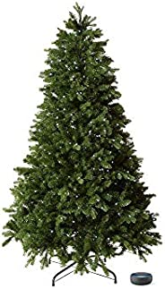 Mr. Christmas 7' Alexa Compatible RGB LED Christmas Tree bundle with Echo Dot (3rd Gen) Charcoal (inclu