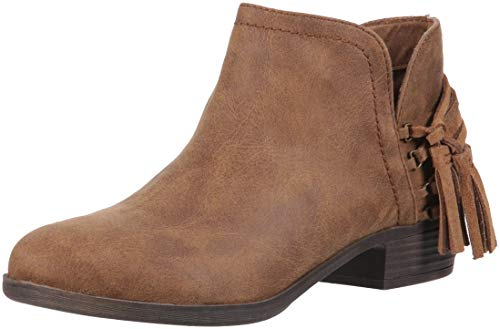 Rampage TIAAN Womens Cut Out Ankle Bootie with Decorative Side Tassle Boot, Cognac Fabric 9.5 M US