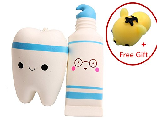 Family Big Mouth Puppets (Squishy Toy, Chickwin Kawaii Squishy Toy Cute Slow Rising Squeeze Toys Soft Squishy Release Stress ect Stress Relief Toy (Blue Tooth+ Blue Toothpaste))