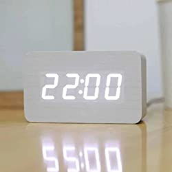 SPA Tool Battery or USB Powered Mini Rectangle Wood Clock - Time Display & Voice Control(White Wood White LED)