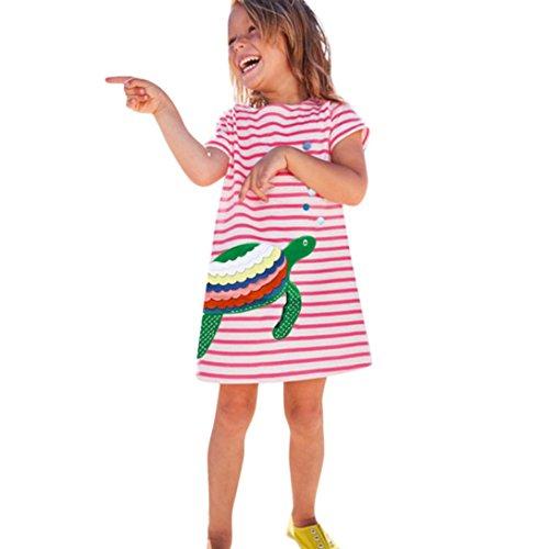 Sumen Summer Stripe Short Sleeve Baby Girls Cartoon Animal Embroidery Dress for Toddler 1-6 Years