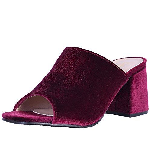 Catherine Malandrino Women\'s Block Heel Velvet Slide Sandals, Burgundy Velvet, Size 9 B(M) US' (Designer Fashion Heel)