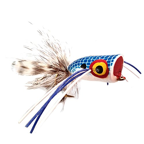 Wild Water Blue and White Bass Popper, Size 2, Qty. 4, by Pultz Poppers