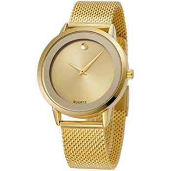 Reloj De Mujer Moda Fashion Women Ultra Thin Quartz Watch Mesh Belt Stainless Steel Band RE0071