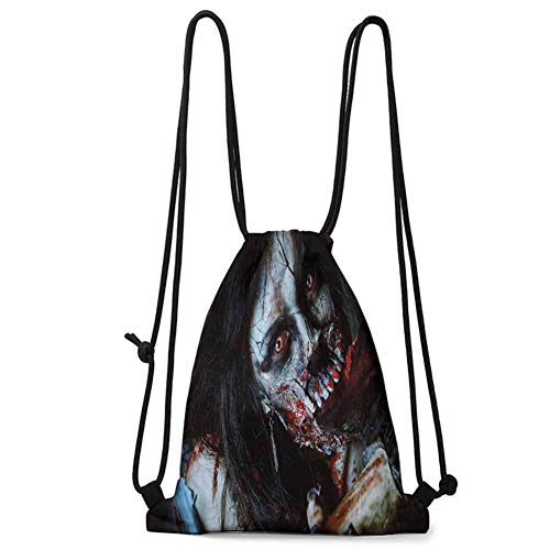 Printed Quilt Bag Zombie Decor,Scary Dead Woman with Bloody Axe Evil Fantasy Gothic Mystery Halloween Picture,Multicolor W13.8 x L17 Inch Underwear Organizer