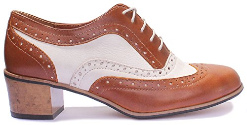 Heel Two Beige Leather Justin Mid Womens Reece Brogue Brown Tone XwXqRtz