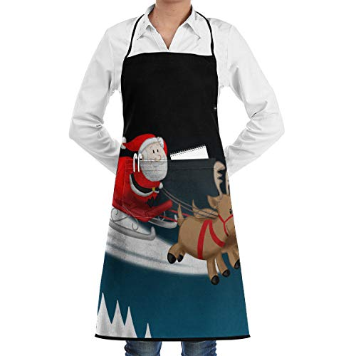 FengShengZX Adult Christmas Santa Claus Ride Horse Adjustable Kitchen Bib Apron with Pocket Cooking Restaurant Chef Aprons for BBQ, Painting, Bar Pub ()