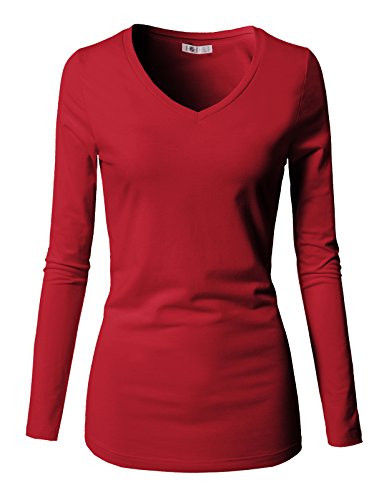 (H2H Women's Sexy Fitted Deep V-Neck Long Sleeve Fashion Tee Tops RED US XL/Asia XL (CWTTL0250))