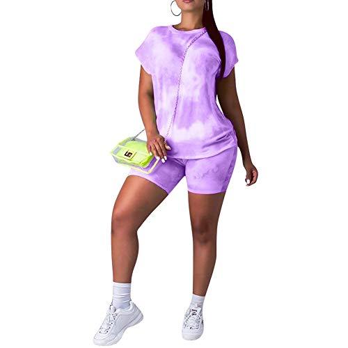acelyn Women's Casual Shorts Set - Tie Dye Short Sleeve T-Shirts Biker Short Tracksuit Set 2 Piece Outfits Purple Large