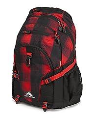 High Sierra 53646-4938 Loop Backpack, Buffalo Plaid/Black/Crimson, International Carry-On