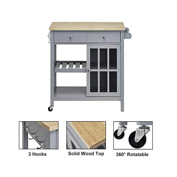 Linio-home Rolling Kitchen Cart Island with Wood Top, Multi-Function Kitchen carts with Storage and Drawers, Towel Bar…