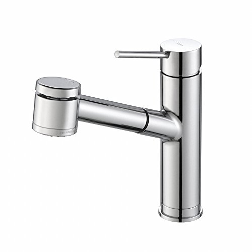 - KRAUS Oletto Single Handle Pull Out Kitchen Faucet in Chrome Finish
