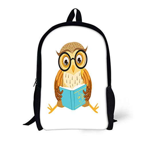 Pinbeam Backpack Travel Daypack Owl Reading the Book Cute Cartoon Character Forest Waterproof School Bag