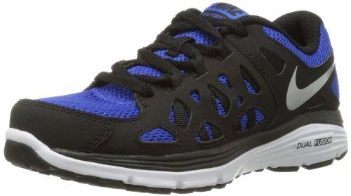 Nike Kids Dual Fusion Run 2 (GS) Running Shoe-Black/Blue-4.5