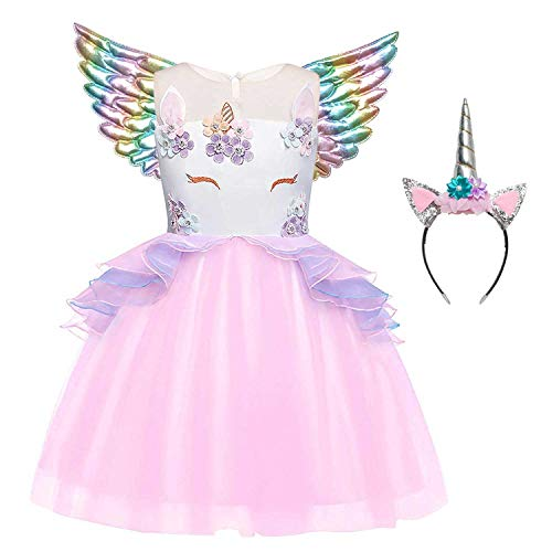 Unicorn Costume for Girls 3t 4t Pageant Princess Dresses Rainbow Wing&Headband]()
