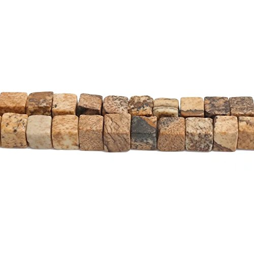 Cube Shape Loose Beads for Fashion Women Jewelry Making Supply One Strand Genuine Picture Jasper Stone 4mm Small Square Spacer Beads One Strand 15 Inch Apx 90 Pcs -