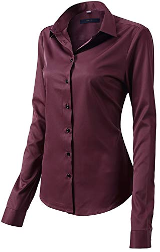 Button Down Shirts for Women Formal Work Wear Simple Wine Red Shirts Size 10