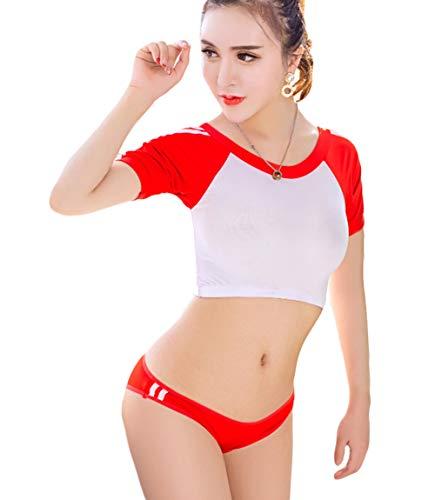 redondo Manga compras Imperio Rojo Cuello Mujer Body 365 corta Cintura qgwC0Wax