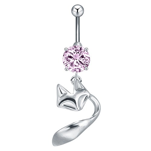 Qiandi Animal Fox with Crystal Belly Button Ring Navel Ring Body Jewelry Sex Gift for Women