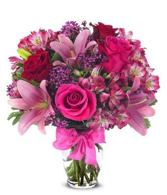 (Flowers - Rose and Lily Bouquet (Free Vase Included))