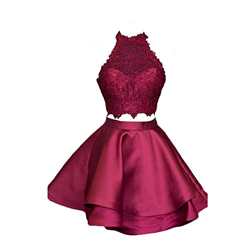 2 Piece Satin Dress (Satin Lace Halter Two Pieces Homecoming Dresses Short Prom Dress (US2, Dark Red))