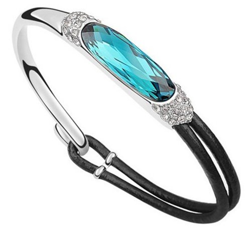 3d582c084 Mondaynoon Deal of the Day Elegant Lady Women's Half Leather Rope Bangle/ bracelet Created Austrian Crystal (White+colorful Blue (B)) (B00IY4Z8O2) |  Amazon ...