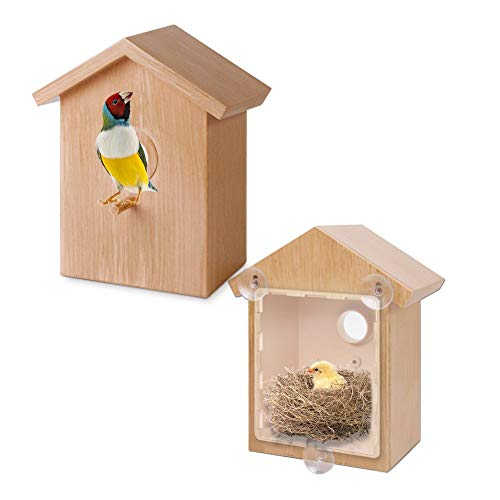 tebisi Window Bird Feeder, Exquisite Bird Nest Feeder with Suction Cup Cabin Birdhouse Outdoor Indoor Imitation log house Nest Cage House Decor for Bird