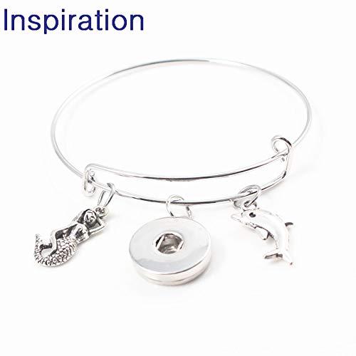 Interchangeable 18Mm Snap Button Jewelry | Ocean Turtle Mermaid Conch Starfish Seahorse Crab Adjustable Bangle & Bracelet (10Pcs) (Mermaid)